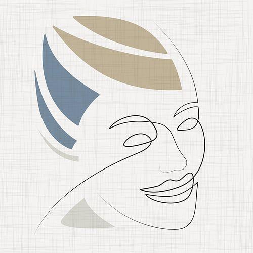 Sierlijke lijntekening van vrouwelijk gezicht