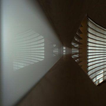 lijnen in een tunnel van licht van Kas Maessen