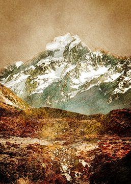 Nieuw-Zeeland Mount Cook landschapskunst van JBJart Justyna Jaszke