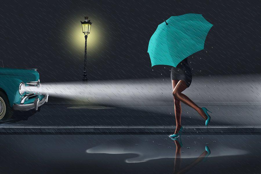 'Rainy day 2 Colorkey petrol/grün von Monika Jüngling