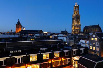Stadsgezicht van Utrecht met Domtoren en Domkerk  van Donker Utrecht