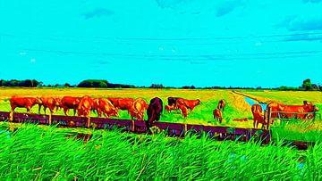Groep koeien in de wei van Digital Art Nederland