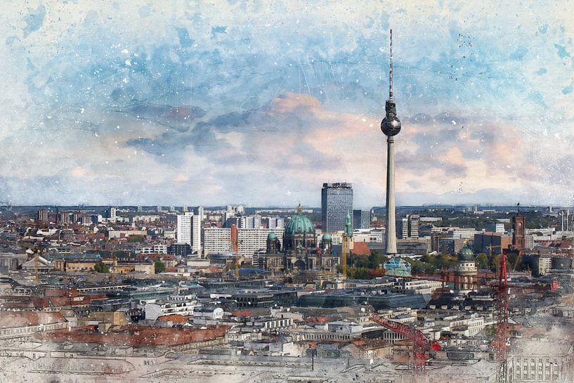 Skyline Berlijn van Arjen Roos