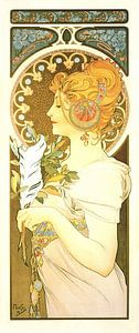 Stijlvol Schilderij Dame Lady Vrouw - Art Nouveau Schilderij Mucha Jugendstil van