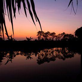 Zonsondergang in de Mekongdelta, Vietnam van Gijs de Kruijf