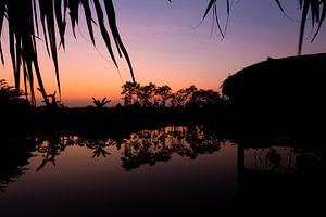 Zonsondergang in de Mekongdelta, Vietnam van