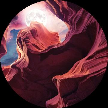 Grand Canyon met Space & Full Moon Collage II van Art Design Works
