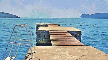 Vakantie! - Steiger met Uitzicht op de Baai van Capo Caccia in Sardinia - Schilderij van Schildersatelier van der Ven