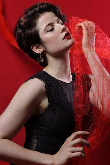 Vrouw met rode tule