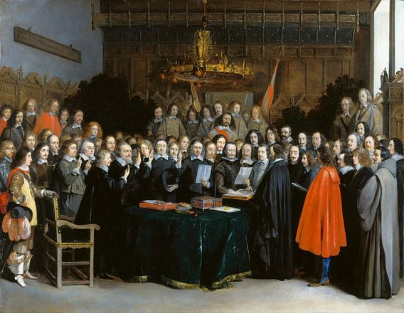 De beëdiging van het vredesverdrag in het Raadhuis van Munster, Gerard ter Borch