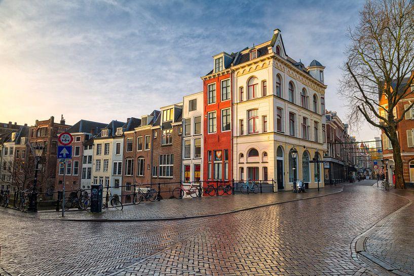 Zonsopkomst Oudegracht - Utrecht van Thomas van Galen