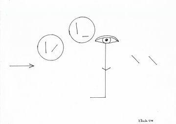 Het streepje ziet 2 cirkels van Johann Bucher