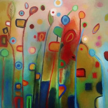 Wilde bloemen - Abstract concept van Angel Estevez