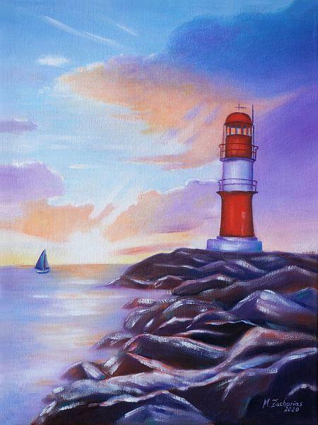 Sonnenaufgang am Leuchtturm Warnemünde von Marita Zacharias