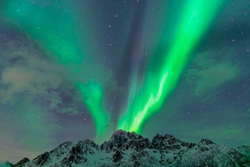 Aurore boréale ou Aurora Borealis sur les montagnes enneigées de l'hiver sur Sjoerd van der Wal