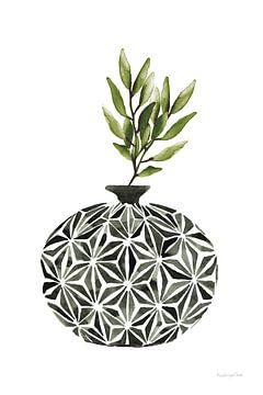 Geometrische vazen IV groen, Mercedes Lopez Charro van Wild Apple