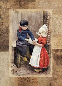 kinderen in Volendams Kostuum van