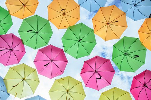 Kleurrijke paraplu's van