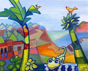 Landschap met gekko 3 van Lorette Kos