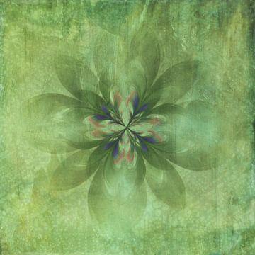 Vintage green flower van Rietje Bulthuis