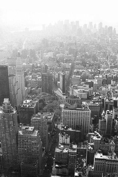 Manhattan gezien van Empire State Building zwart-wit van David Berkhoff
