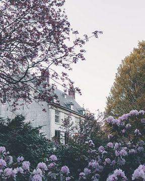 Une maison de conte de fées parmi les fleurs sur Mick van Hesteren