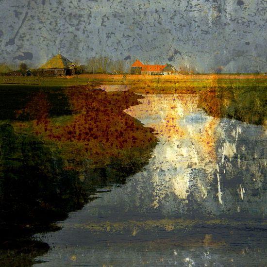 Abstract Waterland van Ger Veuger