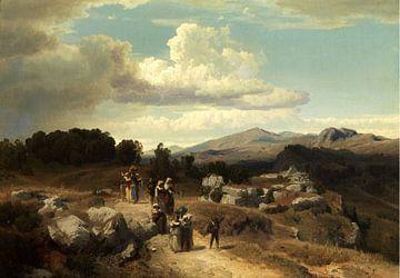 Oswald Achenbach.Sonnenuntergang in einer römischen Landschaft