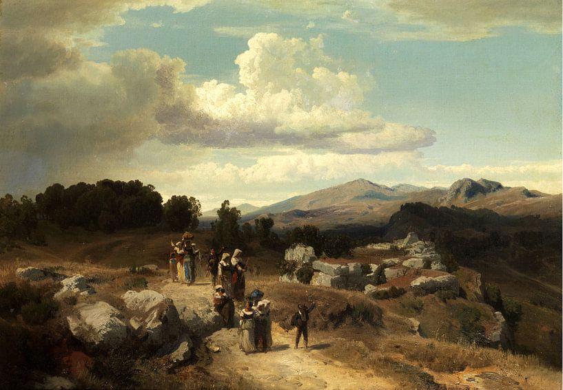 Oswald Achenbach.Sonnenuntergang in einer römischen Landschaft von 1000 Schilderijen