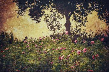 Blumen unter Baum von Rob van der Pijll