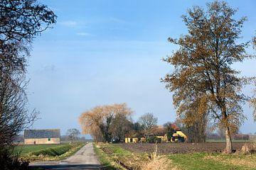 Niederländische Polderlandschaft mit Bauernhöfen im Hoeksche Waard von Peter de Kievith Fotografie