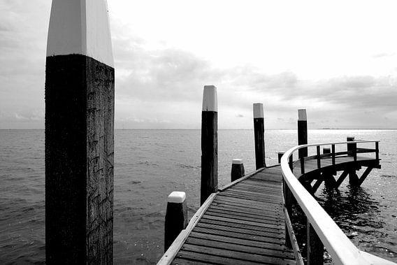 Pier, Niederländische Küste, Texel (Schwarz-Weiß)