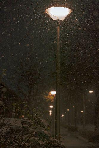 Lantaarnpalen langs trottoir met sneeuwval