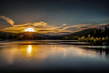 Coucher de soleil au barrage Schwarzenbach