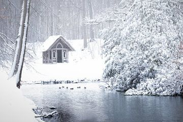 Nederlands landschap bedekt onder de sneeuw van Original Mostert Photography