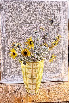 Zon in huis zonnebloemen van Susan Hol