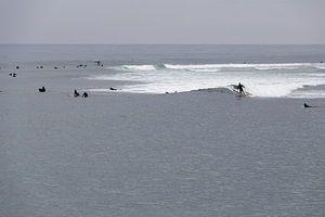 Surfers aan het strand van Malibu
