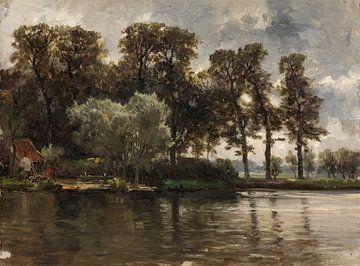 Carlos de Haes-Riverside hutten, Riverside Woods, Antique landschap