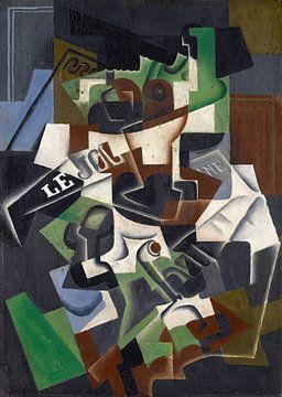 Obstschale, Pfeife und Zeitung, Juan Gris