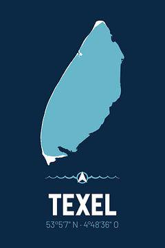 Texel | Design kaart | Silhouet | Minimalistische kaart van ViaMapia