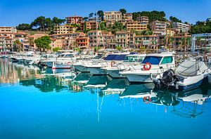 Boten in de haven van de mooie stad Port de Soller aan de kust van het eiland Mallorca, Spanje van Alex Winter
