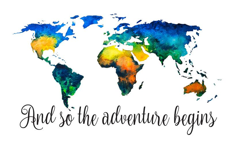Wereldkaart in Aquarel - And so the adventure begins van Wereldkaarten.Shop
