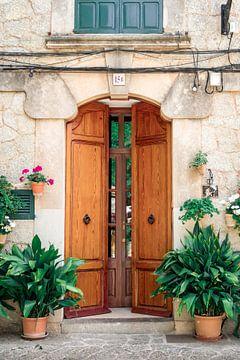 Porte avec des fleurs et des plantes à Valldemossa sur