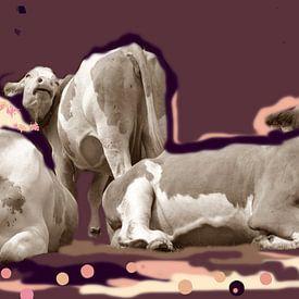 Kleurrijke koe beetje retro van Kunstenares Mir Mirthe Kolkman van der Klip