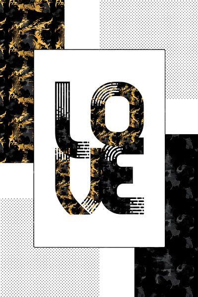 Grafische kunsten Gold LIEFDE | zwart & goud van Melanie Viola