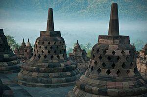 Mystische Morgenstimmung in Borobudur