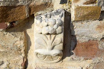 Ornament in de tuinmuur bij Villa Augustus van