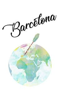 Barcelona auf dem Globus