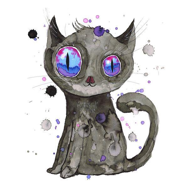 Schattig zwarte kitten van Bianca Wisseloo