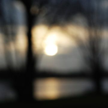 Zonsondergang in Amsterdam, sfeerbeeld, abstractie van Anne Hana